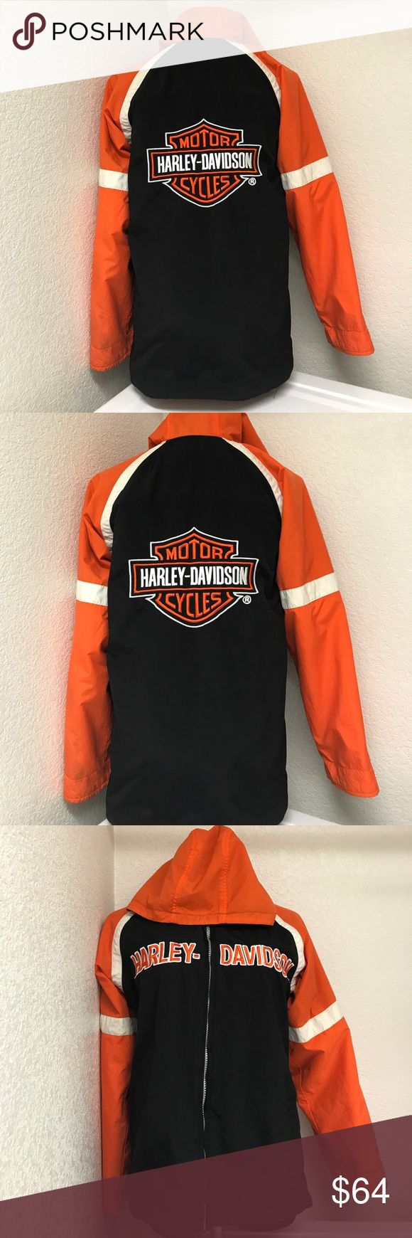 Harley Davidson reversible woman jacket small Great warm jacket that can be use reversible,the other side is fleece and the other part is like a windbreaker material,just has some dirt on the sleeve area that can just be probably wash.Theres no size tag but it fits well on my size 4-6 mannequin. Harley-Davidson Jackets & Coats