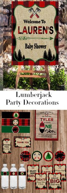 These printable woodland decorations are perfect for a lumberjack first birthday party or a boy baby shower theme. This diy decor includes invitations, favor tags, and more.