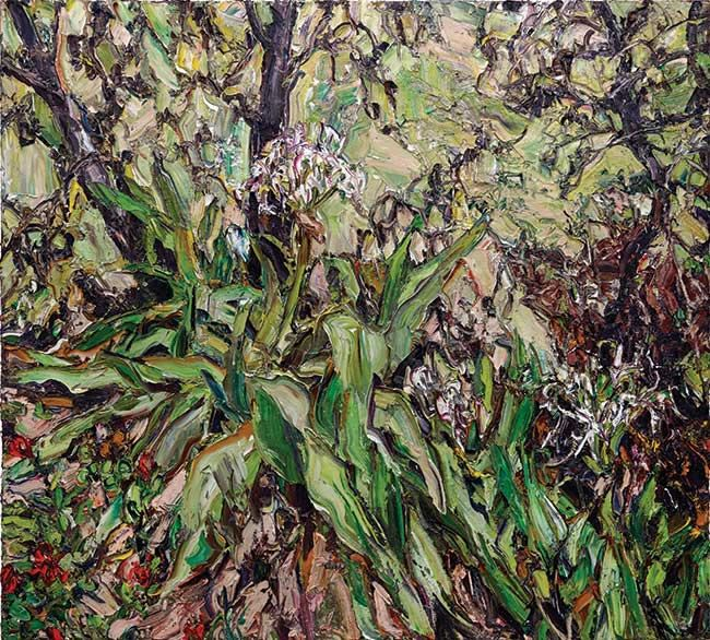 © Nicholas Harding ~ Wooli lily landscape (with banksias and glory lilies) ~ 2012 oil on Belgian linen at Olsen Irwin Gallery Sydney Australia