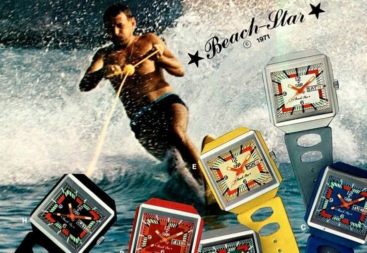 "Claro ""Beach-Star"" surf watch advertisment 1971. These watches were standard issue to the Basel Fire Service in Switzerland."