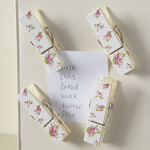 Country Rose Magnetic Pegs-White