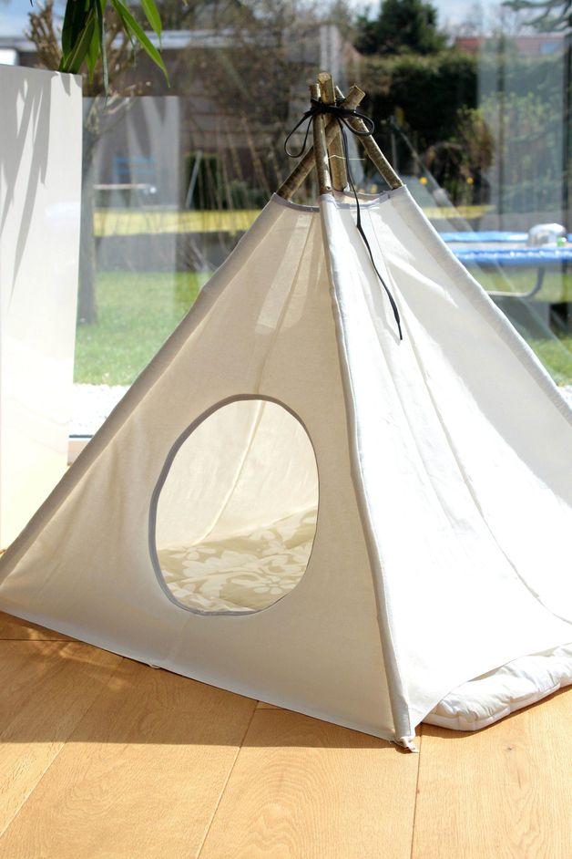 Katze: Schlafplätze - Katzen + Hunde Tipi Decke Höhle Schlafplatz - ein Designerstück von mary-lou27 bei DaWanda
