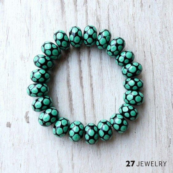 Black and emerald – 27jewelry handmade lampwork glass bracelet