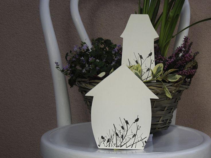 Deko-Objekte - Holzhäuschen mit Vögelchen - Set - ein Designerstück von Emmart1 bei DaWanda