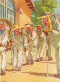 Danza de los viejitos,originaria de la región lacustre del estado de Michoacán.se baila el día de Navidad,ejecutada con finó sentido del humor,los danzantes llevan máscaras de pasta de caña del maíz,madera o barro con facciones de ancianos sonrientes.