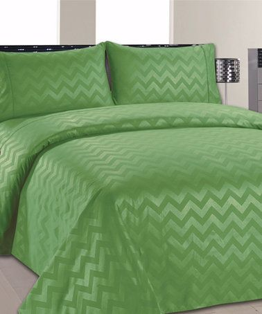 Another great find on #zulily! Lime Green Chevron Sheet Set #zulilyfinds
