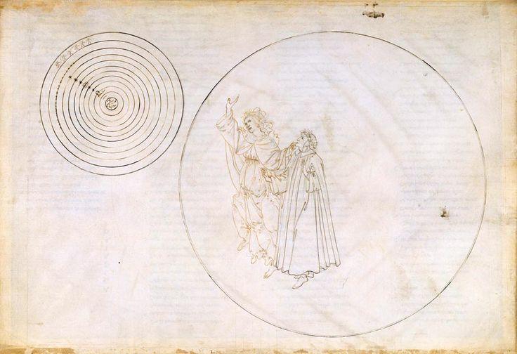 Beatrice erläutert Dante die Ordnung des Kosmos (Die Göttliche Komödie, Paradiso II), ca. 1481-1495. Feder in Braun über Metallstift auf Pergament. © Staatliche Museen zu Berlin, Kupferstichkabinett / Philipp Allard