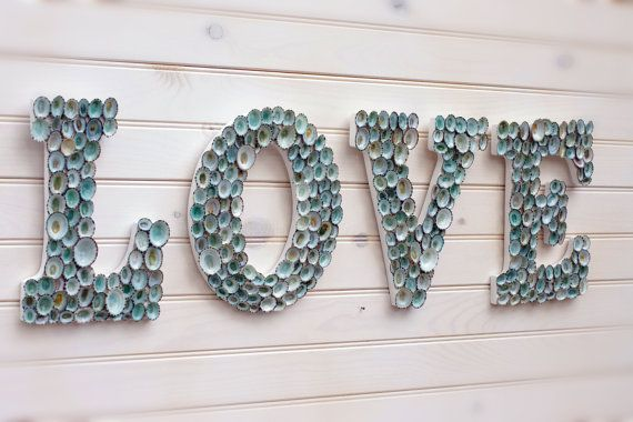 Beach Decor Seashell Covered Letters