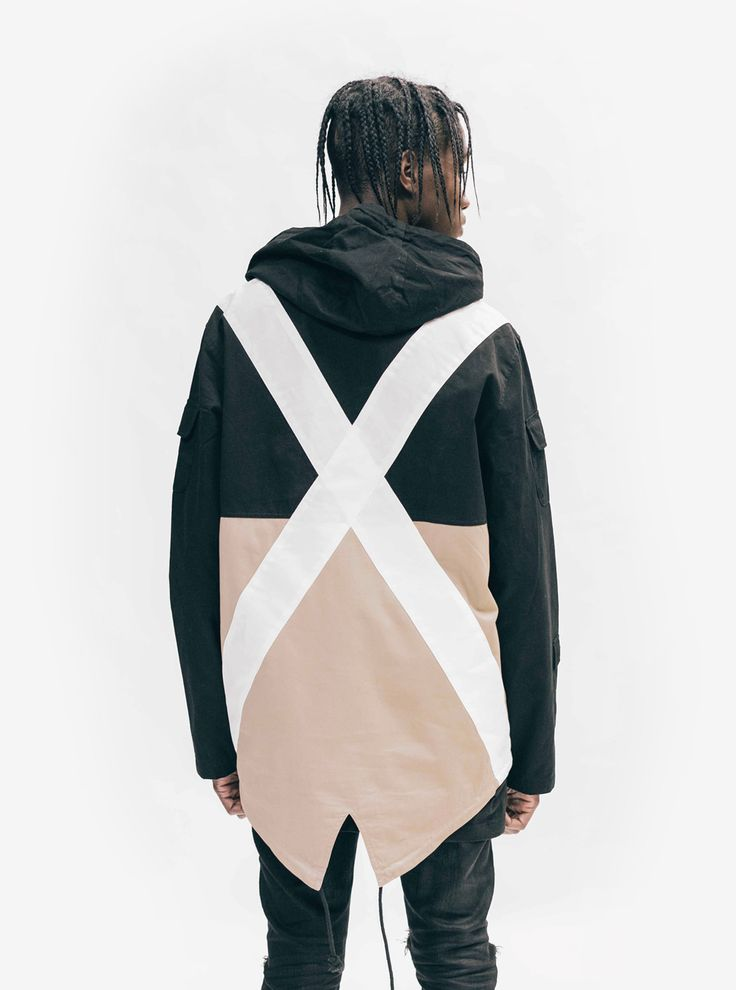 """Profound Aesthetic Fishtail Two-Tone Cargo Pocket Pullover in Black/Khaki """"On the Streets I Ran"""" Fall 2015 Collection http://profoundco.com"""