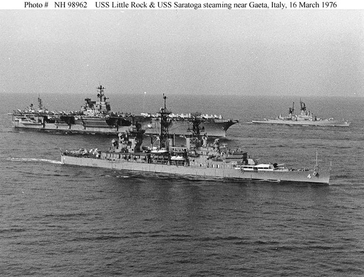 USS Little Rock CLG4 steaming with USS Saratoga CV60 in the Mediterranean Sea as part of the 6th Fleet. Little Rock decommissioned later and is now a memorial ship