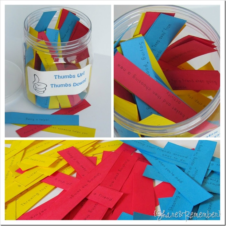 Thumbs Up/down jar with slips of paper for kids to say if things are a good idea or not a good idea