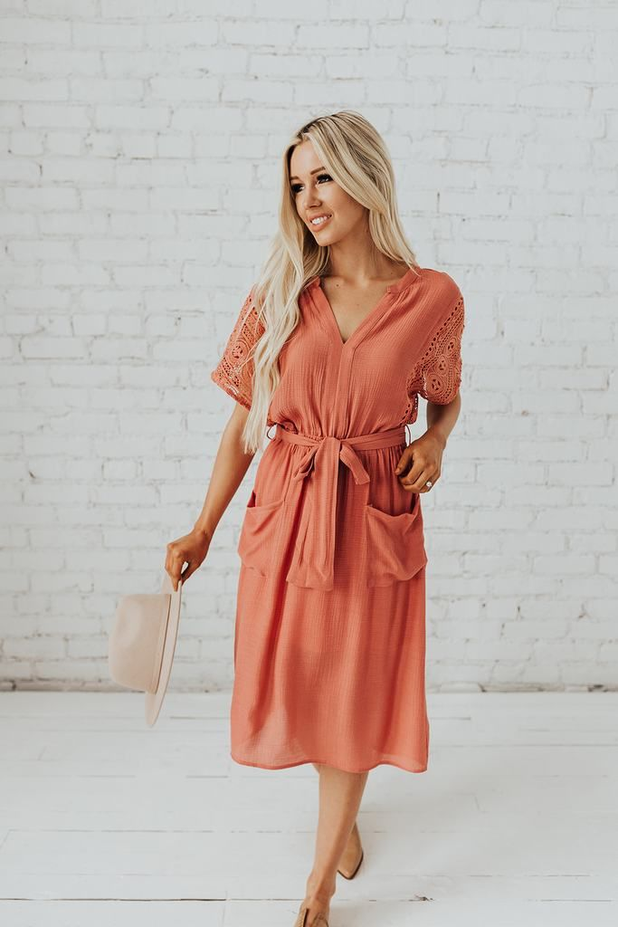 65924fd2a1 See Ya There Lace Midi in Coral in 2019