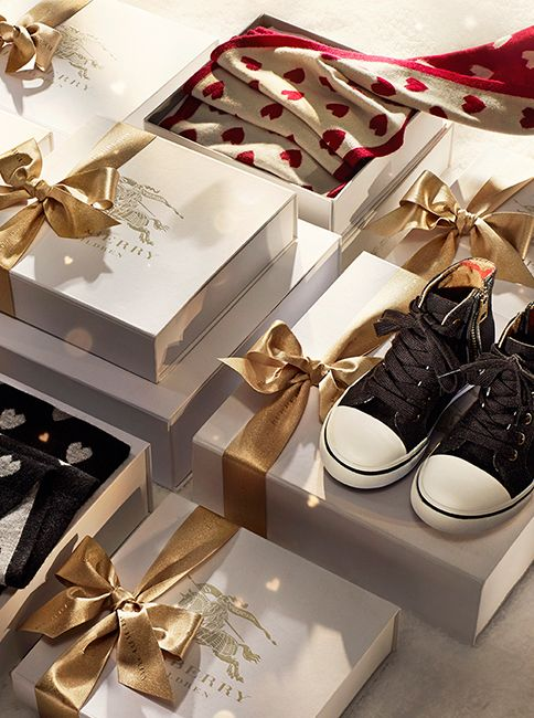Little gifts for boys from Burberry for the festive season featuring classic check and heart prints