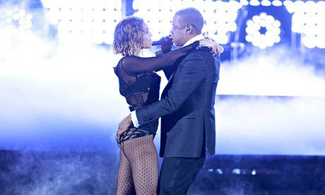 Reaching high … power couple Beyoncé and Jay-Z steamed up the Grammys. Photograph: CBS/via Getty