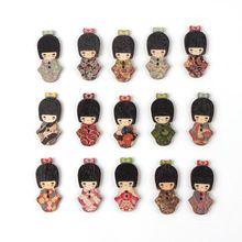50 шт. новый оптовая продажа 40 x 17.5 мм смешанная мультфильм дерево дизайн швейных кнопка отпечатано японские девушки 2 отверстия DIY ремесла(China (Mainland))