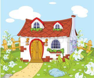 Cartoon Landscape With Cute Little House