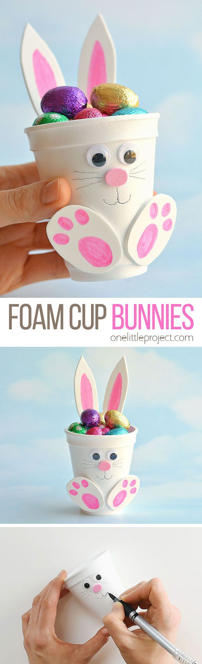 DIY Craft: These foam cup bunnies are SO CUTE! I love how easy they are to make with simple craft supplies! Fill them with candy, chocolate eggs, pencil crayons, or even small toys. They take less than 10 minutes and make an awesome Easter treat idea! Make them as a decoration for the Easter table, or give them away as small Easter gifts. This is such a fun Easter craft for kids!