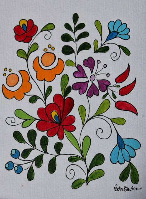 Painted Hungarian Folk Art Flowers