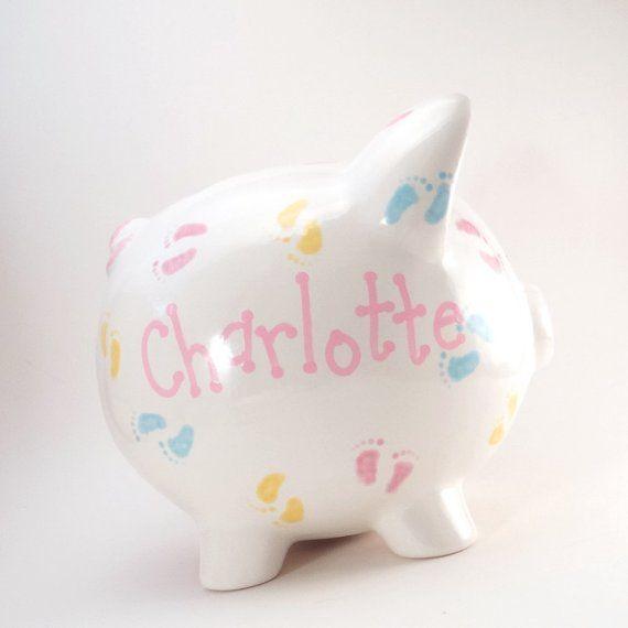 Piggy Toe Piggy Bank Banco De Piggy Personalizado Banco De Pies De Bebe Banco De Vivero De Bebes Banco De Ceramica Pastel Footprints Con Agujero O Sin Aguj Pies De Bebe