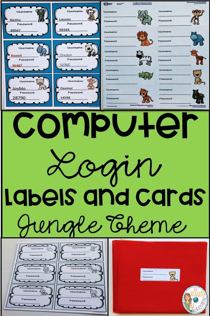 Computer Login Labels And Cards Jungle Theme Kids Computer