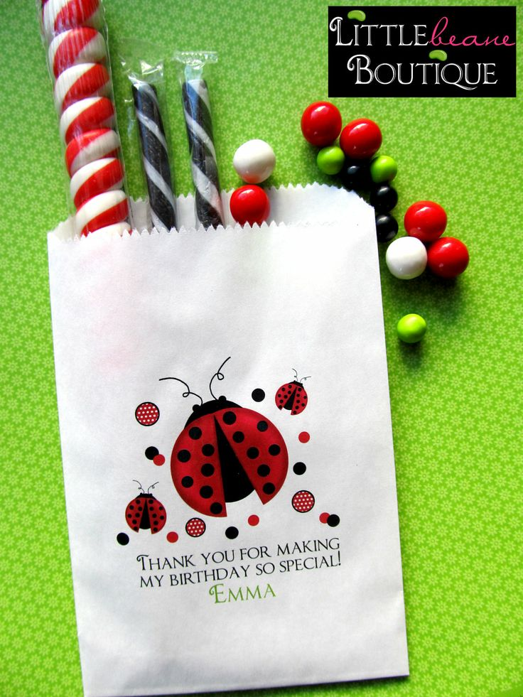 Ladybug Birthday party, Personalized Candy Bags, ladybug Favor bags, Birthday party, Sweets, Treats,Set of 24. $19.75, via Etsy.