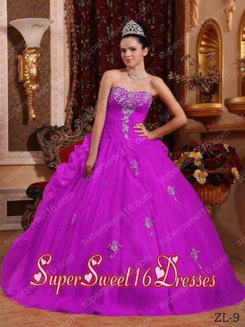 Fuchsia Ball Gown Sweetheart Floor-length Organza Appliques Simple Sweet Sixteen Dresses