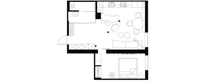 Современный интерьер квартиры для двоих, 52 кв. м