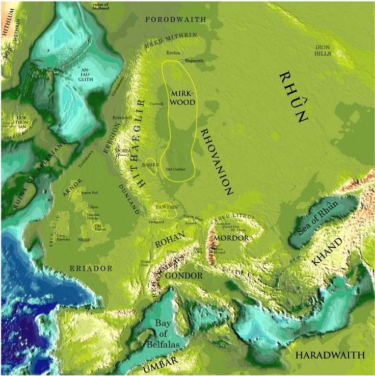 Map of the Middle Earth overlapped on