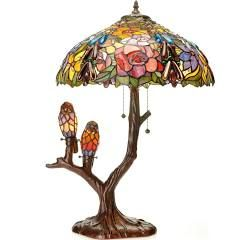 Warehouse of Tiffany Lamps 25 in. Floral Birds Multicolored Brown Table Lamp 32463094ABBB888