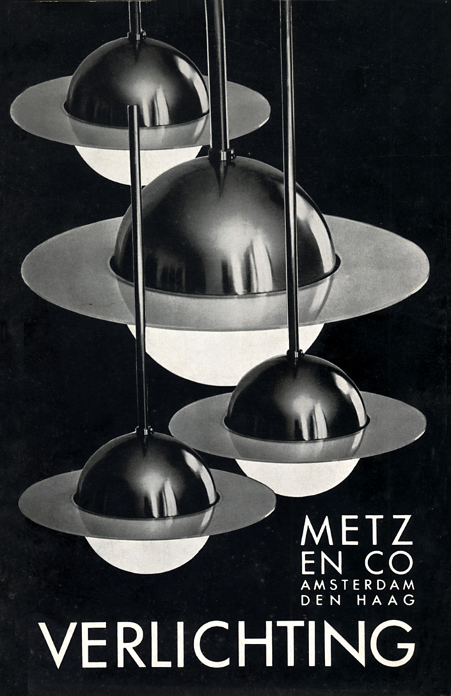 Omslag catalogus Metz & Co Verlichting, ca. 1934. Afgebeeld is de Hanglamp B14, naar ontwerp van E. Berkovich (1932).