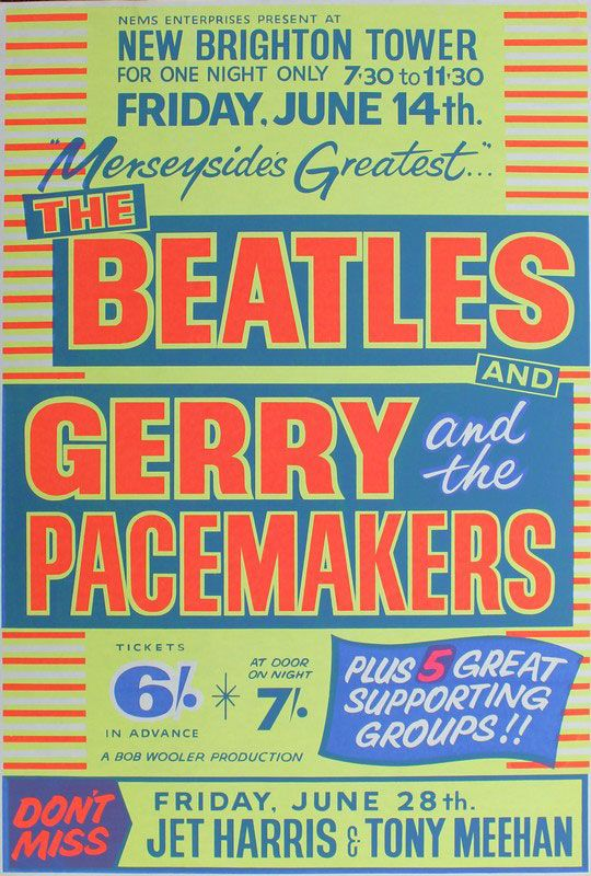 Beatles memorabilia: The Beatles and Gerry and the Pacemakers Brighton 1963 concert poster.