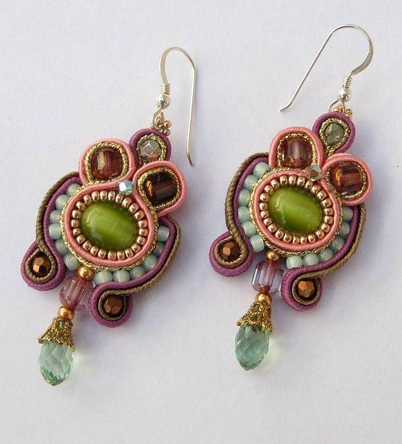 Green soutache earrings by Cielo Design, via Flickr