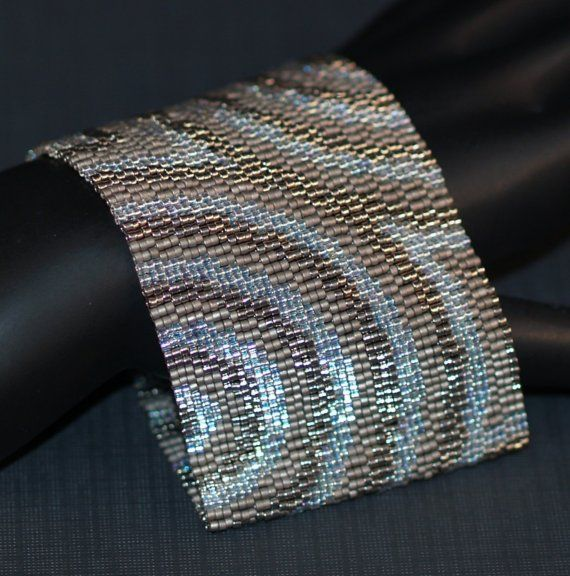 Concentric ... Bracelet Cuff . Peyote . Steel . Crystal .
