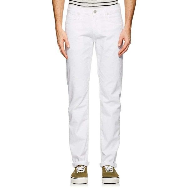 J Brand Men's Tyler Slim Jeans (230 CAD) ❤ liked on Polyvore featuring men's fashion, men's clothing, men's jeans, white, mens slim fit jeans, mens white jeans, j brand mens jeans, mens slim cut jeans and mens slim jeans