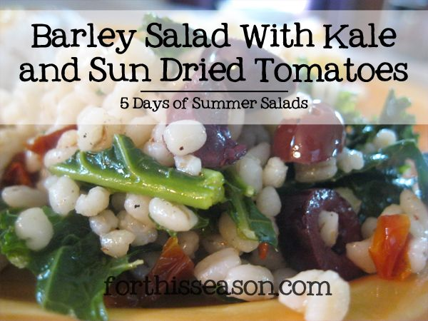 Barley Salad with Kale and Sun Dried Tomatoes (Dairy Free Recipe) - 5 Days of Summer Salads from forthisseason.com
