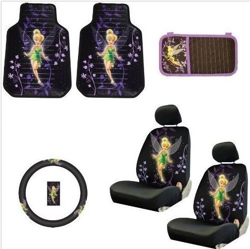Girl Car Accessories Cute Tinkerbell Disney Mat Steering Wheel Seat Cover