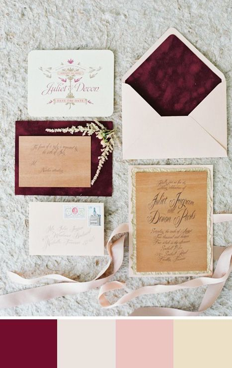 We love the contrast of burgundy in this wedding invitation suite. Source: 100 Layer Cake. #burgundy #weddingstationery #invitations