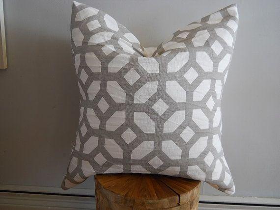 Designer Courtyard Oyster Geometric Fabric Euro Sham