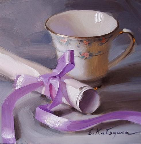"""Lilac Ribbon"" - Original Fine Art for Sale - © Elena Katsyura"