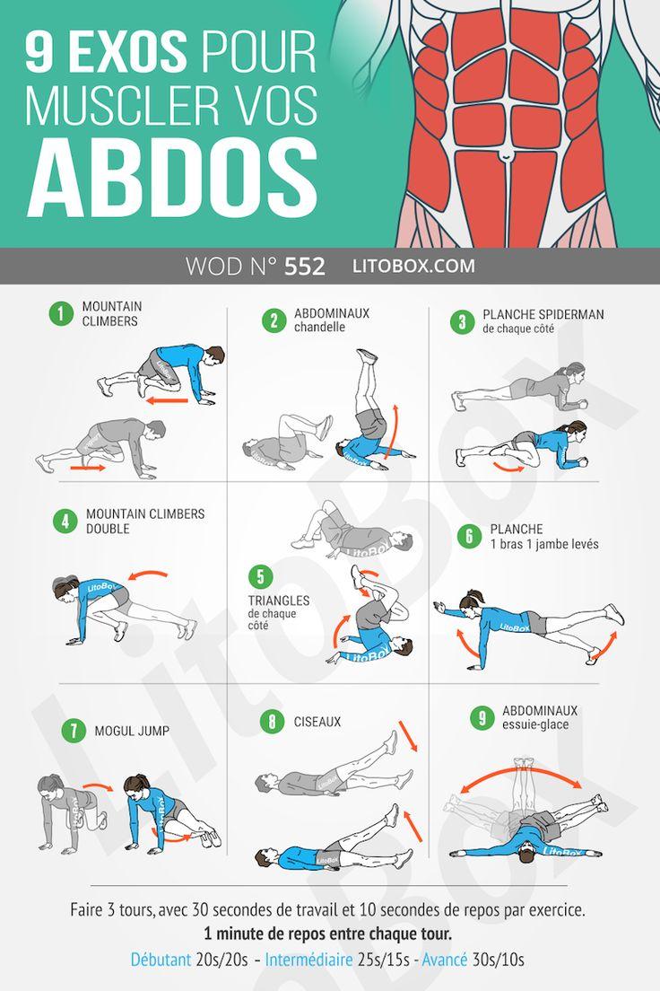 9 exos pour muscler tes abdos (ventre plat) | Abdos ventre ...