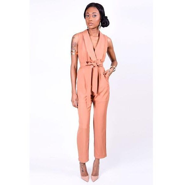 Shelley Camel Jumpsuit ($61) ❤ liked on Polyvore featuring jumpsuits, sleeveless jumpsuit and jump suit