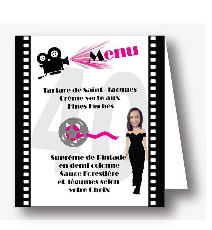 Menu anniversaire femme, thème : CINEMA .Quelle film allons-nous voir ce soir ? .Plus d'informations en cliquant sur le lien suivant https://www.laboiteafairepart.fr/menu-anniversaire-femme-cinema/ #menuanniversairefemme #invitationfemme #anniversairefemme #invitationanniversaire #20ans #30ans #40ans #50ans #60ans  Le 02/06/17