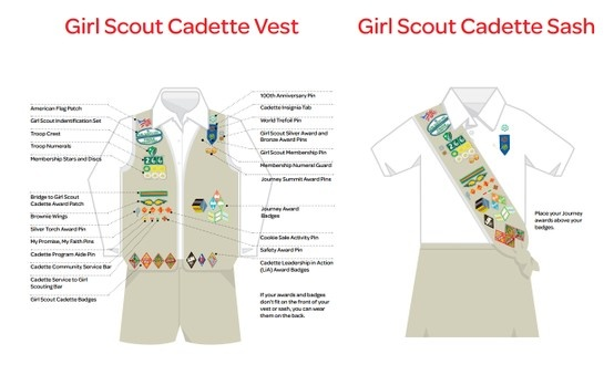 where to place insignia on a girl scout cadette sash or vest girl scout cadettes pinterest. Black Bedroom Furniture Sets. Home Design Ideas