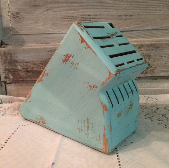 Aqua Knife Block Shabby Style Beach Decor by AntoinettesCottage