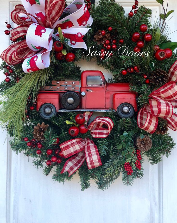 Red Truck Wreath Red Truck Christmas Wreath