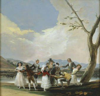 La gallina ciega fue realizado poco después de que accediera al trono de España el rey Carlos IV. Se trata de la cuarta serie de cartones que Goya realizó entre 1788 y 1792, dedicados al ocio y las diversiones campestres. De este cartón se conserva un boceto previo en el Museo del Prado.