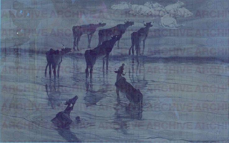 Duilio Cambellotti. Vacche grasse e vacche magre, 1919. Tempera su cartone