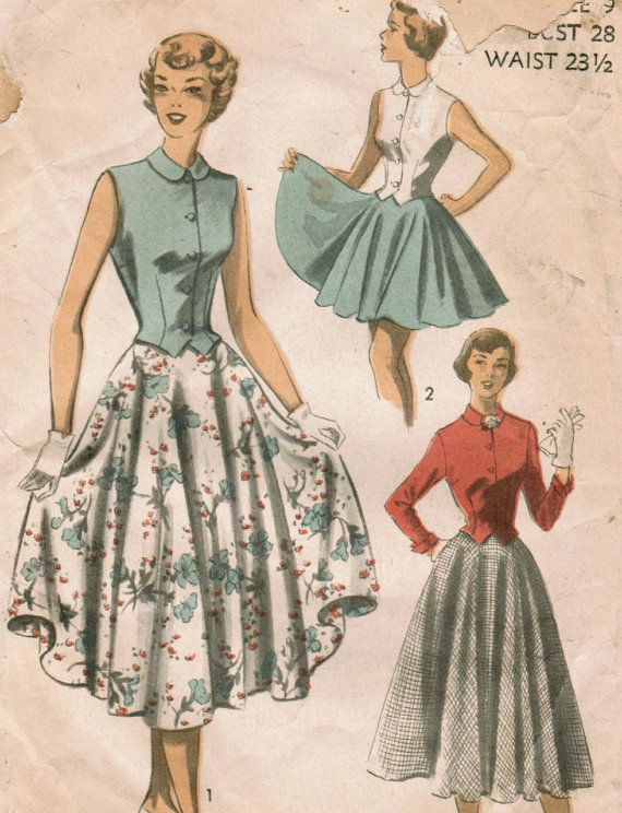 1950s Advance 5496 Vintage Sewing Pattern di midvalecottage