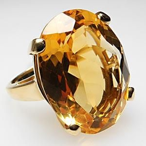 HUGE NATURAL CITRINE GEMSTONE COCKTAIL RING SOLID 14K YELLOW GOLD                                                                                                                                                                                 More