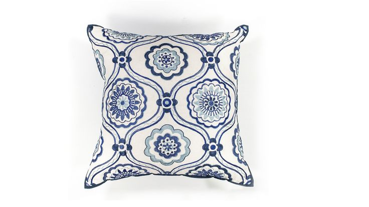 Blue and White Flowers Pillow